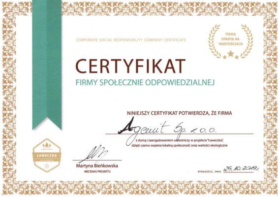 Certyfikat projekt Ławeczka